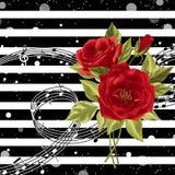 Czerwone róże z muzycznymi notatkami Zdjęcia Stock