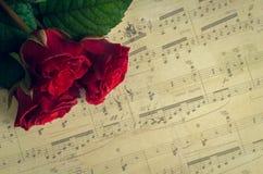 Czerwone róże z muzykalnymi notatkami Zdjęcie Royalty Free