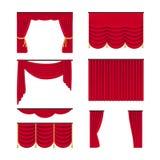 Czerwone realistyczne zasłony ustawiają odosobnionego na białym tle Draperii wewnętrznej dekoracji przedmiot r?wnie? zwr?ci? core fotografia stock