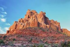 Czerwone rockowe formacje w łukach parki narodowi, Utah obraz stock