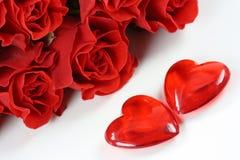 czerwone serce róże dwa Zdjęcie Stock