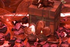 czerwone serce świece. Obraz Stock