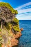 Czerwone skały Esterel francuz Riviera, Francja Obraz Stock