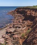 Czerwone skały na Cavendish plaży & x28; Portrait& x29; , książe Edward wyspa obraz royalty free