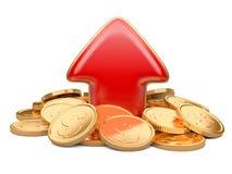 Czerwone strzałkowate oddolne i złote monety, biznesowy pojęcie Obraz Stock