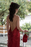 czerwone sukienki długich młode kobiety Obraz Stock