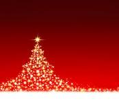 czerwone tło gwiazdkę drzewo Fotografia Stock