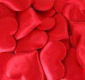 czerwone tło satin serc Zdjęcie Stock