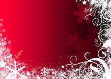 czerwone tło płatek śniegu Obraz Royalty Free
