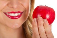 Czerwone wargi & czerwony jabłko Zdjęcia Stock