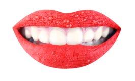 Czerwone wargi, piękny makeup, zmysłowy usta, warga, uśmiech Piękno zmysłowe wargi, piękna warga, jaskrawa pomadka zdjęcie royalty free