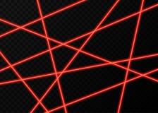 Czerwone wiązki laserowe z błyskami światła na czarnym tle Zdjęcia Royalty Free