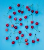 Czerwone wiśnie na błękitnym tle - lato Obrazy Stock