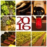 2016 czerwone wino fotografii kolażu kwadratowa karta Obraz Stock