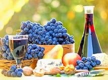 Czerwone wino i winogrono na stole Fotografia Royalty Free