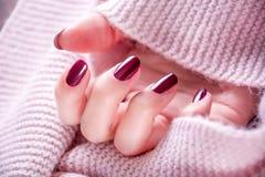 Czerwone wino koloru manicure na dziewczyny ręce zdjęcia royalty free