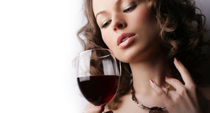 czerwone wino piękna szklana kobieta Zdjęcie Stock