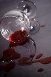 czerwone wino rozlane Fotografia Stock