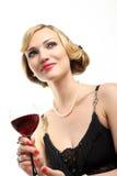 czerwone wino szklana kobieta Obrazy Stock