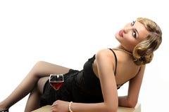czerwone wino szklana kobieta Fotografia Stock