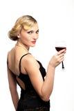 czerwone wino szklana kobieta Obrazy Royalty Free