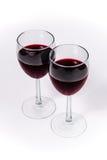 Czerwone Wino w dwa szkłach kąt perspektywy Obraz Royalty Free