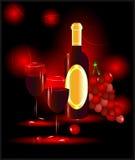 Czerwone wino z szkłami i winogronami Obrazy Royalty Free