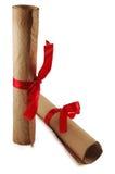 czerwone wstążki dyplomu Fotografia Royalty Free