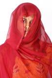 czerwone zasłon kobiety Zdjęcia Stock
