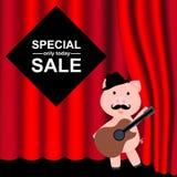 Czerwone zasłony i draperie Kreskówki świnia z kapeluszem i gitarą Tło dla specjalnej sprzedaży Oferta specjalna wewnątrz royalty ilustracja