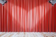 Czerwone zasłony z dwa światłami reflektorów Obraz Royalty Free