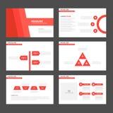 Czerwonego brzmienia Infographic elementów ikony prezentaci szablonu płaski projekt ustawia dla reklamowej marketingowej broszurk Fotografia Royalty Free