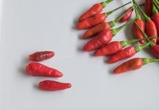 Czerwonego chili pieprz na bielu talerzu Fotografia Stock