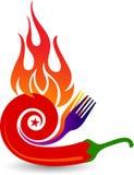 Czerwonego chili pieprz na płomienia logu royalty ilustracja