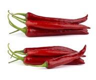 Czerwonego chili pieprze odizolowywający na białym tle Zdjęcie Royalty Free