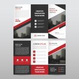Czerwonego czarnego trójboka ulotki broszurki biznesowa trifold ulotka ilustracji