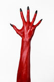 Czerwonego diabła ręki z czerń gwoździami, czerwone ręki szatan, Halloweenowy temat na białym tle, odizolowywającym Zdjęcie Royalty Free