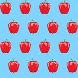 Czerwonego dzwonkowego pieprzu zapasu bezszwowy wzór na neonowym błękitnym tle dla tapety, wzór, sieć, blog, tekstury, grafika Zdjęcie Stock