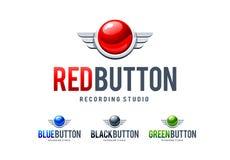 Czerwonego guzika logo Obrazy Stock