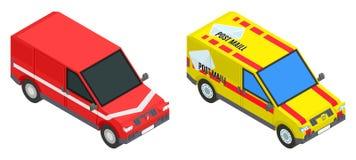 Czerwonego i żółtego poczta ładunku samochodu zapasu isometric wizerunek ilustracja wektor