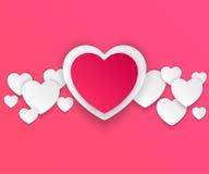 Czerwonego i białego papieru serc walentynek dzień Zdjęcie Stock