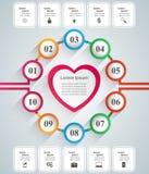 Czerwonego i białego papieru serc walentynek dzień Abstrakt 3D cyfrowy ilustracyjny Infographic Obrazy Stock