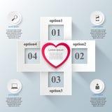 Czerwonego i białego papieru serc walentynek dzień Abstrakt 3D cyfrowy ilustracyjny Infographic Zdjęcie Royalty Free