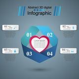 Czerwonego i białego papieru serc walentynek dzień Abstrakt 3D cyfrowy ilustracyjny Infographic Obraz Stock