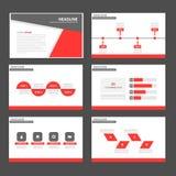 Czerwonego i czarnego Infographic elementów ikony prezentaci szablonu płaski projekt ustawia dla reklamowej marketingowej broszur Fotografia Stock