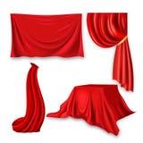 Czerwonego Jedwabniczego płótna Ustalony wektor Tkaniny falowania Sukienny kształt Dla prezentaci Sztandar, scena, peleryna, zasł royalty ilustracja