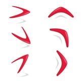 Czerwonego koloru bumerangu różny foreshortening Obraz Stock
