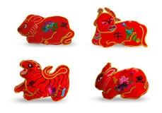 Czerwonego koloru se 4 dwanaście zodiaków ilustracja wektor