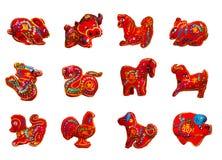 Czerwonego koloru se 12 dwanaście zodiaków ilustracji