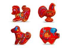 Czerwonego koloru se 4 dwanaście zodiaków ilustracji